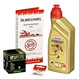 Ölwechselset Castrol Power1 10W-40 Öl + HiFlo Ölfilter für Yamaha WR 125 R/X, Bj. 09-15 (Typ DE07); Motoröl + Filter