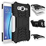 Qiaogle Telefono Case - Shock Proof TPU + PC Hibrida Stents Protettiva Case Cover per Samsung Galaxy ON5 / ON5 Pro / SM-G5500 (5.0 Pollici) - HH14 / Nero & Bianco