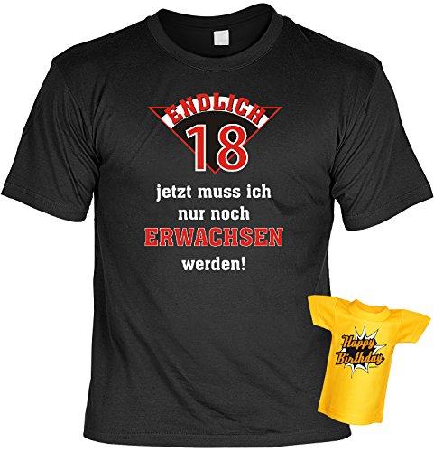 Cooles T-Shirt zum 18. Geburtstag für das Geburtstagskind 18 Jahre mit Gratis Mini-Shirt Geschenk Set zum 18. Geburtstag Geburtstagsgeschenk Schwarz