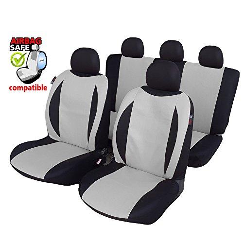 Preisvergleich Produktbild UNSB601 - Sitzbezug Set Schwarz / Grau Sitzschoner Sitzkissen mit Seiten Airbag geeignet für Opel Manta Tigra Agila Antra Combo Kadett