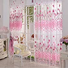 Tulipán rosa de tul impresos Cortina de telas transparentes panel del estilo de país de América