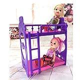 Naisicatar 1pc Puppenhaus Möbel Doppelbett Rahmen Kunststoff Etagenbett Schlafzimmermöbel Bett Set für Kelly Barbie-Puppe Barbie-Puppen Puppen Rosa und lila 3,5 Zoll Interessantes Spielzeug Test
