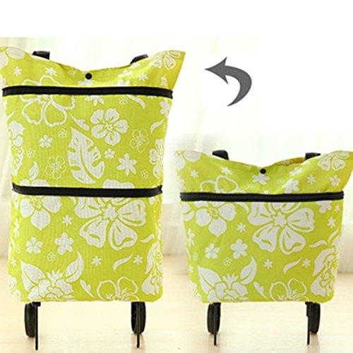 Honeysuck Einkaufstrolley mit 2 Rädern, groß, faltbar, Blumenmuster, Grün