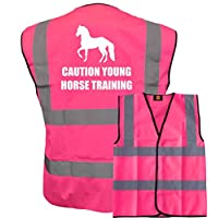 Bright Pink High Visibility Vest with White Text CAUTION YOUNG HORSE TRAINING WITH IMAGE - HORSE RIDING By Brook Hi Vis Medium