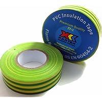 1x verde/amarillo (tierra) eléctrico aislamiento de PVC/cinta aislante 19mm x 20m–retardante de llama