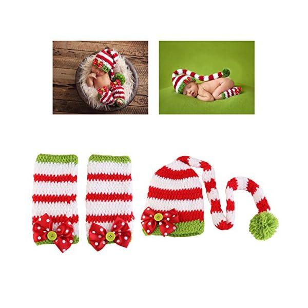 NUOLUX Disfraz Fotografía Props Crochet Sombrero y Ropa para Bebé en Navidad Día 3
