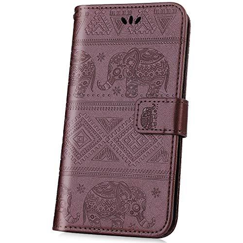 kompatibel mit Nokia 2.1 2018 Hülle,JAWSEU Lederhülle für Nokia 2.1 2018 Tasche Leder Flip Case Brieftasche Schutzhülle Elefant Flip hülle Bookstyle Kunstleder Handy Tasche,Braun