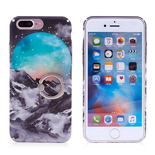 iProtect Hardcase mit Ring Halter Marmor Design Schutzhülle in Schwarz mit Fingerhalterung für Apple iPhone 7 Plus Misty Mountain