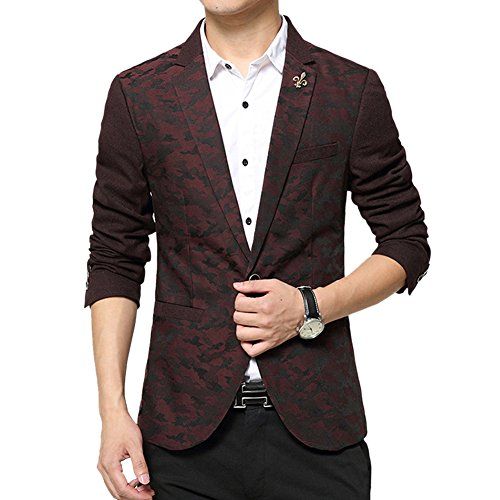 MRSMR Homme Mode Camouflage Couleur Blazer un Bouton Casual Affaires Veston Costume Veste Rouge