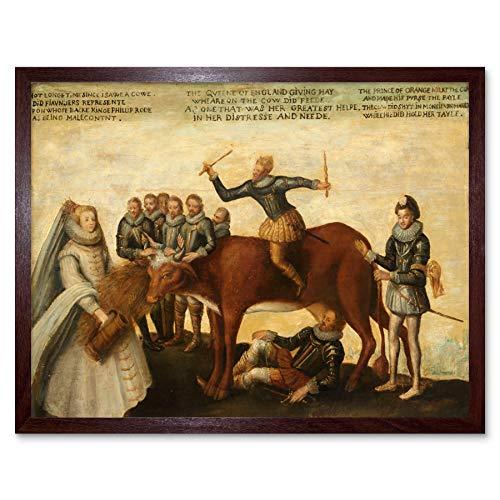 Dairy Cow Dutch Provinces Revolting Against Spanish Art Print Framed Poster Wall Decor 12x16 inch Niederländisch Spanisch Wand Deko