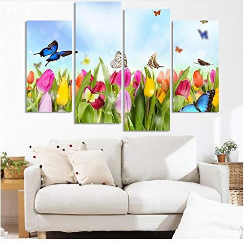 Decoración Moderna Arte Pared 4 Piezas tulipán Flor