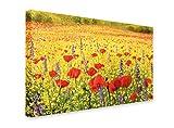 PICSonPAPER Leinwandbild Ölbild Mohnblumenfeld, 70 cm x 50 cm, Dekoration, Kunstdruck, Wandbild, Leinwand Welle, Meer, Blumen, Feld Mohnblumen