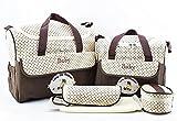 Satz von 2 Baby Wickeltaschen + Baby Bottle Bag + Lunch Kit + Wasserdichte Matte zum Austausch der kompakten Schichten ideal für Reisen (Kaffee)