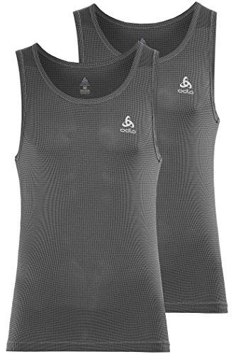 Odlo Herren Singlet Cubic 2 Pack Unterhemd, Ebony Grey-Black, XXL