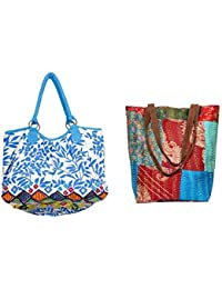Indiweaves Combo Pack Of 1 Silk Kantha Tote Bag And 1 Cotton Shopper Bag (Pack Of 2) 8201482100-261-IW-P2