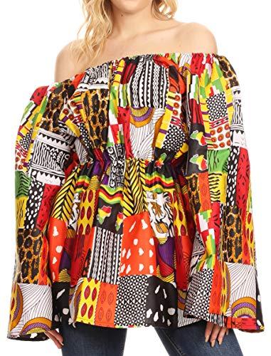 Sakkas 2230 - Top de Blusa con Hombros Descubiertos y Hombros Descubiertos Mela para Mujeres en Ankara Africano - 146-Multi - OS