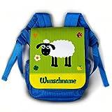 Striefchen® Kindergartenrucksack mit Wunschnamen in Blau Motiv: Schäfchen
