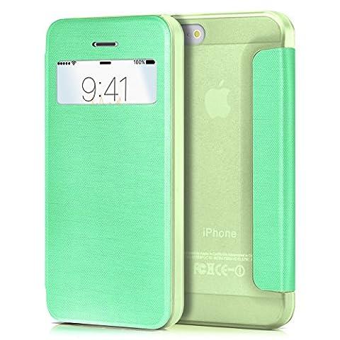 iPhone 5S Hülle Mint-Grün mit Sicht-Fenster [OneFlow Focus Cover] Ultra-Slim Schutzhülle Dünn Handyhülle für iPhone 5/5S/SE Case Flip Handy-Tasche