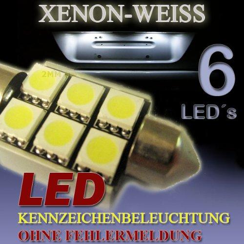 Preisvergleich Produktbild 5 x SMD LED Sofitte 39 mm C5W 12V 6 Power-SMD 5050 Lesebeleuchtung für BMW 3er 5er 7er E34 E36 E38 E39 E46 E60 E90 - Ohne StVZO Zulassung - XENON WEISS - 5 Stück
