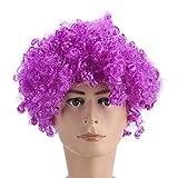 100% nueva explosión peluca ventilador fútbol 8 color festival divertido peluca de vacaciones explosión principal rol juego de peluca(Púrpura)