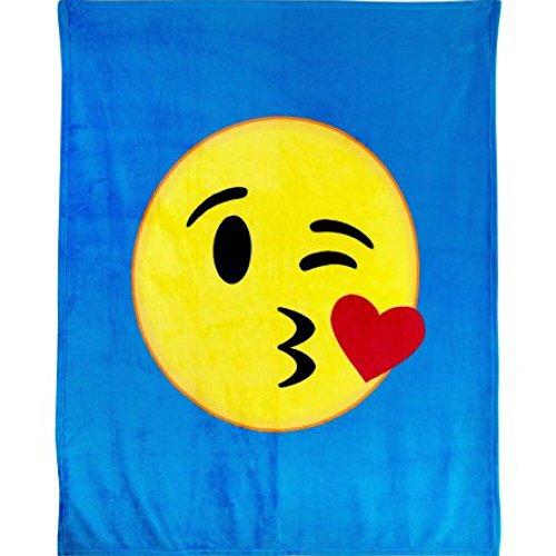 Emoji-Expressions Plüsch Überwurf Decke–Kiss (Blau Gelb Twin Tröster)