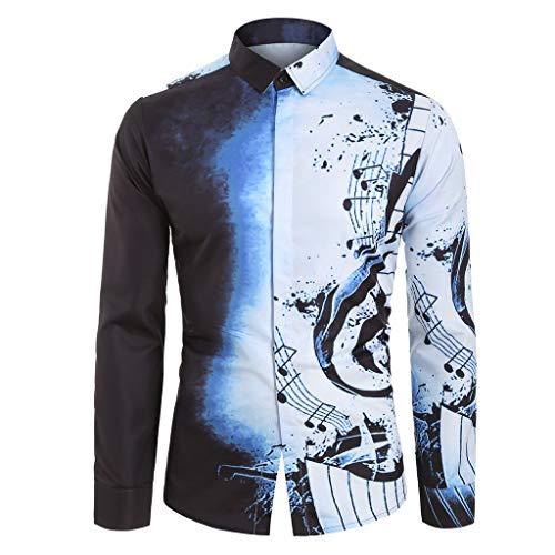 Kanpola Langarm Hemd mit Muster Herren 3D Gedruckt Oberhemden Männer Slim Fit Hemden Modische Freizeithemd Herbst Winter