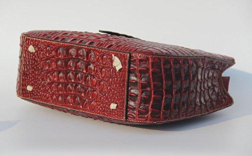 Jsix Borsa in Vera Pelle Borsa Tracolla Donna Croc Paten Designer Tote Rosso
