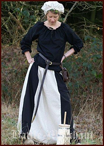 Larp Für Kostüme Frauen (Mittelalterlicher Rock schwarz/natur Damenrock Gothic Kostüm Gewand LARP Gr. S-3XL)