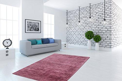 Teppich Hochwertig Flachflor Handgefertigt Florenz Pastell Viskose Einfarbig Puderrosa Wohnzimmer Größe 80/150 cm (Florenz Beige-teppich)
