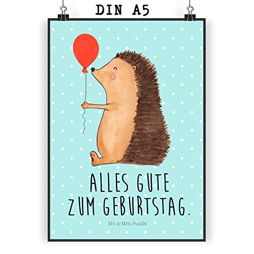 ter DIN A5 Igel mit Luftballon - 100% handmade in Norddeutschland - Glückwunsch, Bild, Wanddeko, Papier, Geburtstagskind, Wandposter, Geschenk, Geburtstag, Ballon, Igel, Poster, Happy Birthday (Happy Birthday Ballons Mit Namen)