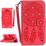 PQ-MALL Samsung Galaxy A3 (2016) Coque, Bling Bling Rouge Etui Housse (Gaufrage ) Pour Samsung Galaxy A3 (2016) SM-A310F Récompense: Récompense:stylet inclus X1