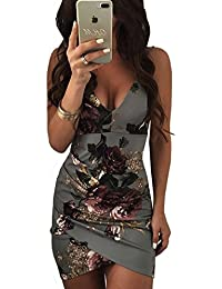 Ninimour Womens Spaghetti Strap Open Back Floral Print Bodycon Dress