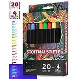 colozoo Stoffmalstifte 20er-Set: 4 UV Neon und 16 Textilstifte waschmaschinenfest - perfekt für Textil, Leder, Polyerster, Beutel, T-Shirt, Papier und sonstige