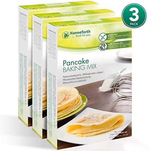 Hanneforth Glutenfreie Backmischung für Pfannkuchen - 3x400gr Pfannkuchenbackmischung - Hefe-, Weizen-, Milch- und Laktosefrei - Pfannkuchenteig ohne Zusatzstoffe - Perfekt bei Zöliakie -