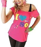 Classy Fashion Frauen Ich Liebe die 80er Jahre T-Shirt Top Damen Ich Liebe 80er Jahre Kostüm Hen Night Stag Do Parteien Tees Top 80er Party Kleider (Small, Pink)