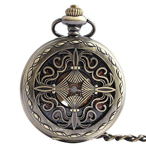 Orrorr Uhr Taschenuhr Halb Automatik Handaufzug Mechanisch Kette Pocket Watch Geschenk Gift reloj de montre de F020