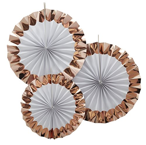 Ginger Ray Rose Gold zum Aufhängen Party Pinwheel Fan Dekorationen x 3 – Team - Braut-fans