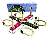 Funmate Juguetes y Juegos Natural Wooden Quoits Ring Toss Game Hoopla Set