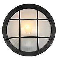 Matt Black Cast Aluminium Outdoor Circular Bulkhead Wall or Ceiling Light by Haysoms by Haysoms