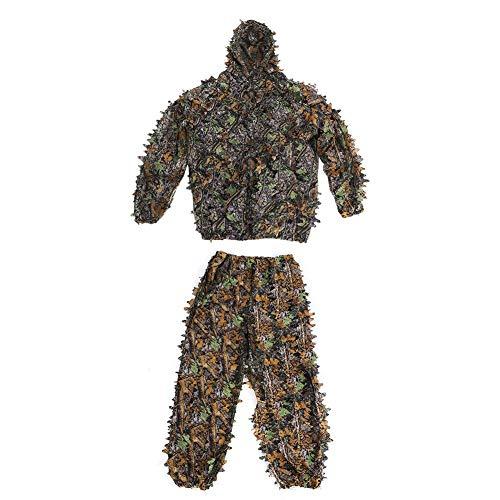 Blatt Ghillie Suit Sonnenschutz Tarnung Woodland Camo Ghillie Set mit Jacke Hose für Jagd Schießen Tierfotografie Vogelbeobachtung usw ()
