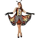 dressforfun Frauenkostüm Schmetterling großer Feuerfalter | Taillierte Korsageoptik | Kurzes, sexy Kleid | Inkl. Große bunte Flügel, schwarze Handschuhe und Haarreifen mit Fühlern (L | Nr. 301147)