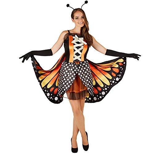 Frauenkostüm Schmetterling großer Feuerfalter | Taillierte Korsageoptik | Kurzes, sexy Kleid | Inkl. Große bunte Flügel, schwarze Handschuhe und Haarreifen mit Fühlern (S | Nr. (Erwachsene Peter Pan Unisex Für Kostüme)