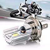 LED Motorrad Scheinwerfer Birnen H4 9-80V 6W Stecker High / Low Beam COB Moped Scooter Lampe, weiß 6500k