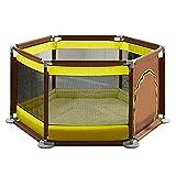 Cylficl Parco Giochi for Bambini Anti-rotolamento con 150 Palline e tappetini striscianti, Recinzione for Bambini Portatile a 6 Pannelli, Adatta for Bambini con Porte - 65 cm di Altezza (Color : B)