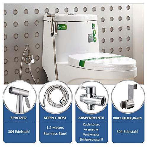 BMK Bidet Handbrause Toilette Bad Bidet für Bidet Armaturen WC Waschen Edelstahl Duschkopf Bidet Windel Dusche Tierbad Wasserspar Wand waschen