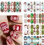 Natthom Nagelaufkleber Nagel leuchtende volle Aufkleber Weihnachtsserie Schneeflocken Weihnachtsmann und Geschenk Aufkleber 11 Modelle