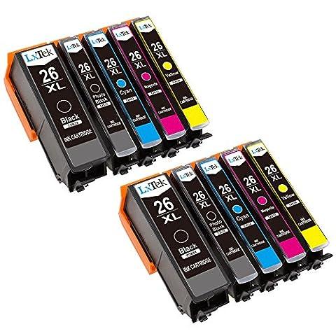 LxTek Compatible Cartouches d'encre Remplacement pour Epson 26 26XL 10 Pack ( 2 Noir, 2 Photo Noir, 2 Cyan, 2 Magenta, 2 Jaune ) pour Epson Expression Premium XP-510 XP-520 XP-600 XP-605 XP-610 XP-615 XP-620 XP-625 XP-700 XP-720 XP-710 XP-800 XP-810 XP-820 Imprimante