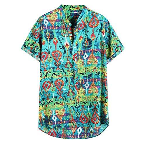 friendGG MäNner Sommer Atmungsaktiv Komfortabel Bunt Bedruckt Kurzes Hemd Herren Hemden Kurzarm LäSsige Krawatte Tops Hawaiihemd Funky Casual Kragen Mode Druck Retro T-Shirt Bluse Shirt Ausschnitt -