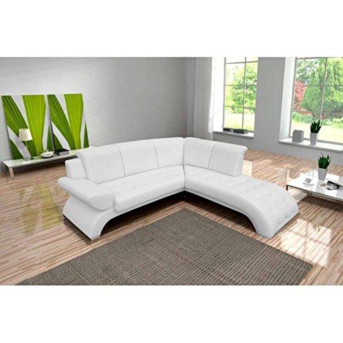 Justhome orion divano angolare divano letto finta pelle (lxp): 225x212 cm bianco penisola a destra