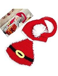 HAPPY ELEMENTS Bebé recién nacido apoyo de la fotografía del traje de navidad lindo sombrero de punto de ganchillo equipos fijó (capa con capucha)